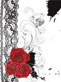 Rode de rozen en het kantwerveling van de valentijnskaart Stock Foto's