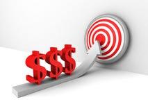 Rode de symbolen van de dollarmunt het toenemen pijl aan succesdoel Stock Foto