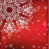 Rode de winterachtergrond met sneeuwvlok Stock Afbeeldingen
