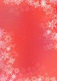 Rode de winterdocument achtergrond met sneeuwvlokgrens Royalty-vrije Stock Afbeeldingen