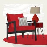 Rode de zitkamerstoel en schemerlamp van de woonkamerscène Stock Afbeelding