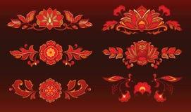 Rode decoratieve bloemen royalty-vrije illustratie