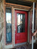 Rode deur Stock Fotografie