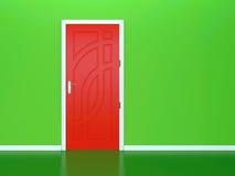Rode deur en groene muur Royalty-vrije Stock Fotografie