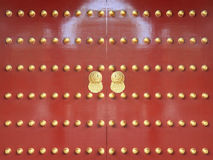 Rode deuren met gouden schilderende 2 Royalty-vrije Stock Afbeelding