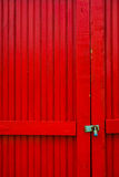 Rode Deuren met Slot Stock Afbeelding
