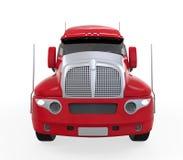 Rode die Aanhangwagenvrachtwagen op Witte Achtergrond wordt geïsoleerd Stock Fotografie