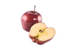 Rode die appel op witte achtergrond wordt geïsoleerd Stock Foto