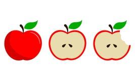 Rode die Apple-Fruitvector in Drie Stappen wordt geplaatst Royalty-vrije Stock Foto's