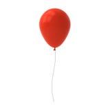 Rode die ballon op witte achtergrond met vensterbezinning wordt geïsoleerd Stock Foto's