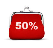 Rode die beurs, portefeuille met nummer 50% op wit, mede korting wordt geïsoleerd Stock Afbeelding