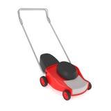 Rode die Grasmaaimachine met Grasvanger op wit wordt geïsoleerd Stock Foto
