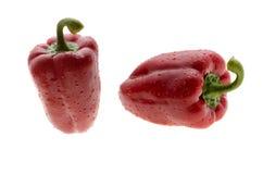 Rode die groene paprika op een witte achtergrond met waterdalingen wordt geïsoleerd Royalty-vrije Stock Afbeeldingen