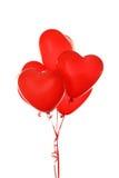 Rode die hartballons op een wit worden geïsoleerd Royalty-vrije Stock Foto