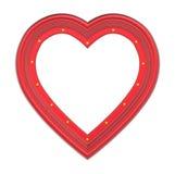 Rode die hartomlijsting op wit wordt geïsoleerd Royalty-vrije Stock Foto