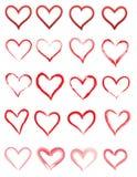 Rode die Hartpictogrammen op een Witte Achtergrond worden geïsoleerd stock illustratie