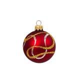 Rode die Kerstmisbal op wit Nieuwjaar wordt geïsoleerd als achtergrond Royalty-vrije Stock Foto's
