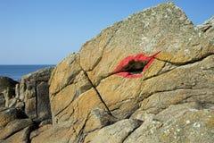 Rode die kus op rotsen wordt geschilderd Royalty-vrije Stock Foto's