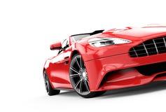Rode die luxeauto op een witte achtergrond wordt geïsoleerd stock illustratie
