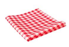 Rode die picknickdoek op wit wordt geïsoleerd Royalty-vrije Stock Afbeeldingen