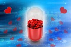 Rode die pil met harten, medisch concept wordt gevuld Royalty-vrije Stock Afbeelding