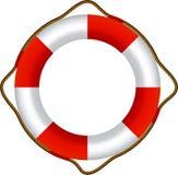 Rode die Reddingsboei, op Witte Achtergrond wordt geïsoleerd Royalty-vrije Stock Foto's