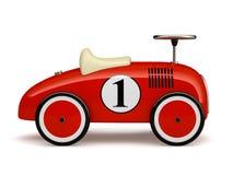 Rode die retro stuk speelgoed auto nummer één op witte achtergrond wordt geïsoleerd Stock Afbeelding