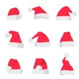 Rode die Santa Claus-hoeden op kleurrijke achtergrond worden geïsoleerd Symbool van Kerstmisvakantie De vectorreeks van de santah royalty-vrije illustratie