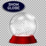 Rode die sneeuwbol transparant en voor ontwerp wordt geïsoleerd Stock Afbeelding