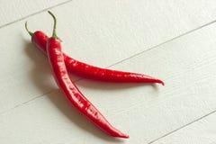 Rode die Spaanse peperpeper op een witte achtergrond wordt geïsoleerd Royalty-vrije Stock Fotografie