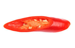 Rode die Spaanse peperpeper op witte achtergrond wordt geïsoleerd Stock Fotografie