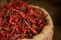 Rode die Spaanse pepers bij markt worden verkocht Royalty-vrije Stock Afbeeldingen