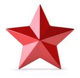 Rode die ster op wit wordt geïsoleerd Royalty-vrije Stock Foto