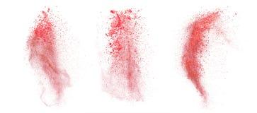 Rode die stofexplosie op witte achtergrond wordt geïsoleerd Stock Afbeeldingen