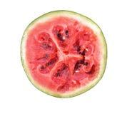 Rode die verrottingswatermeloen in stukken wordt gesneden, op een witte achtergrond worden geplaatst Stock Fotografie
