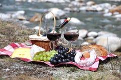 Rode die wijn, kaas en druiven bij een picknick wordt gediend Royalty-vrije Stock Afbeeldingen