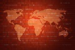 Rode Digitale Abstracte technologieachtergrond met wereldkaart royalty-vrije illustratie
