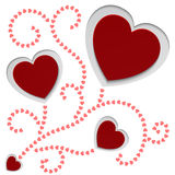 Rode document de dagkaart van hartenvalentijnskaarten vector illustratie