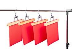 Rode document prijsetiketten op een wit Royalty-vrije Stock Afbeeldingen