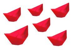 Rode document schepen die op een wit worden geïsoleerdn Royalty-vrije Stock Afbeeldingen