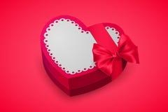 Rode doos in hartvorm Chocolade voor de dag van Valentine ` s Verjaardagsgift met liefde Roze giftdoos voor minnaars Vector Royalty-vrije Stock Foto's