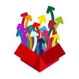 Rode doos met vele kleurenpijlen Stock Afbeeldingen