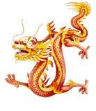 Rode draak die op wit wordt geïsoleerd Royalty-vrije Stock Foto's