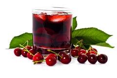 Rode drank en kers Stock Foto