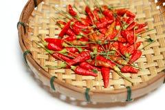 Rode droge Spaanse pepers in bamboemand op witte achtergrond Stock Afbeeldingen
