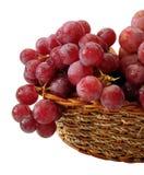 Rode druiven met geïsoleerdeo daling van water op mand Stock Afbeeldingen