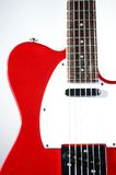 Rode Elektrische Gitaar op Wit Royalty-vrije Stock Afbeeldingen