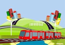 Rode elektrische trein, platteland, stedelijke gebouwen, vectorart. royalty-vrije illustratie