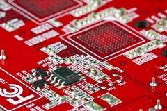 Rode elektronische kring Stock Foto