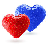 Rode en blauwe aardbeiharten Royalty-vrije Stock Foto